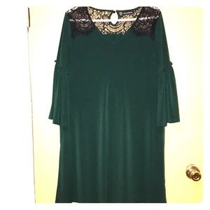 Green Maternity Dress with Lace Kneckline😍